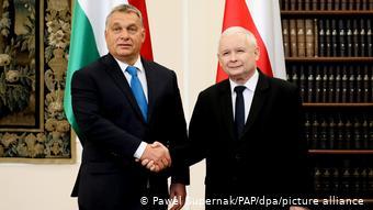 Polen Viktor Orban mit Jaroslaw Kaczynski